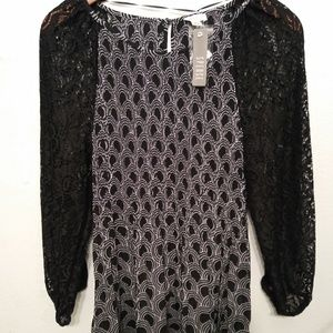 Spense Womens Size Large Black Lace Sleeve Blouse